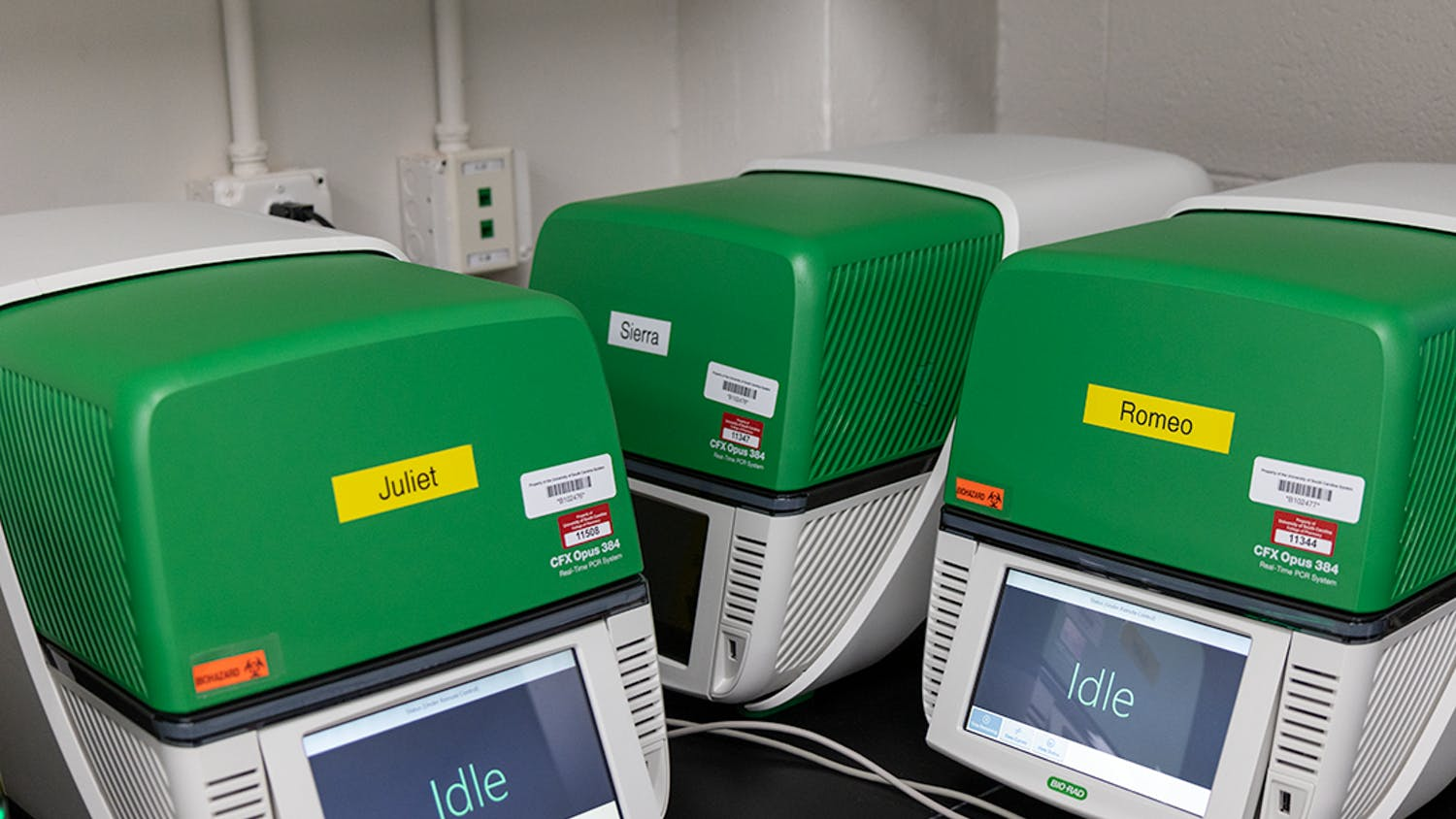 Romeo and Juliet, identification names given to two Bio-Rad CFX Opus 384 PCR detection systems, stand idle waiting for a tray of samples. When in use, these units scan a tray of samples for one hour and 30 minutes before being validated and then uploaded.