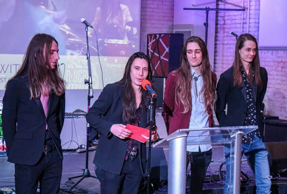 <p>Seven Year Witch gives an acceptance speech after winning Best Live Act in the 2020 Upstate Music Awards.</p>