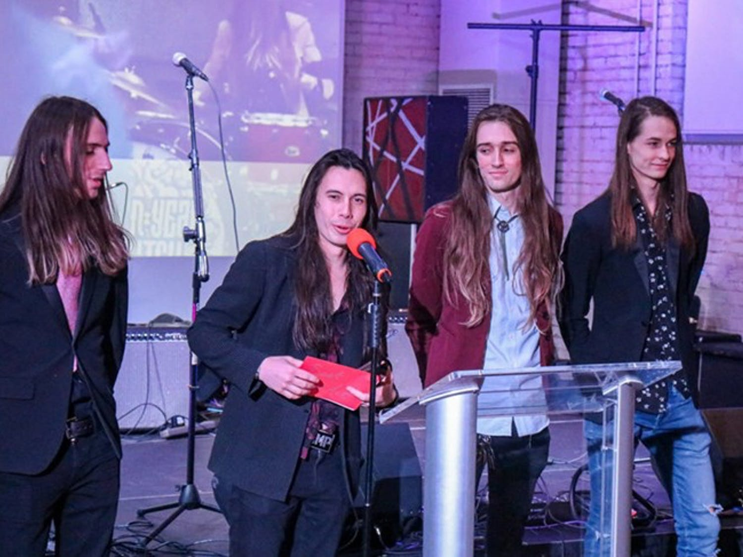 Seven Year Witch gives an acceptance speech after winning Best Live Act in the 2020 Upstate Music Awards.