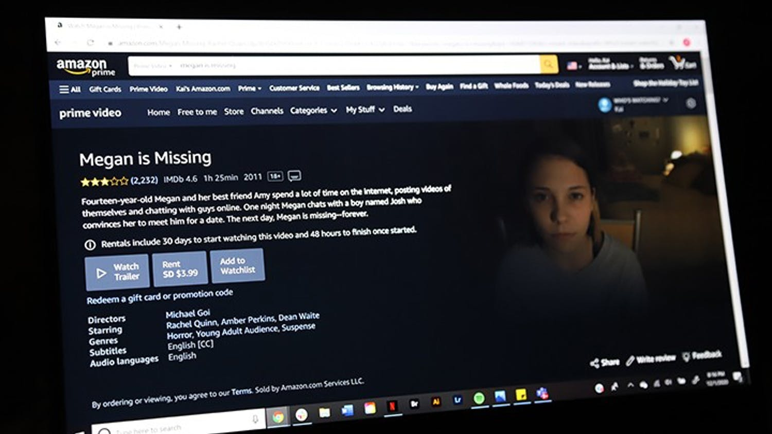"""""""Megan Is Missing"""" is a horror/thriller about a 14-year-old girl who goes missing when she meets a boy for a date. The movie is available on Amazon Video and YouTube."""