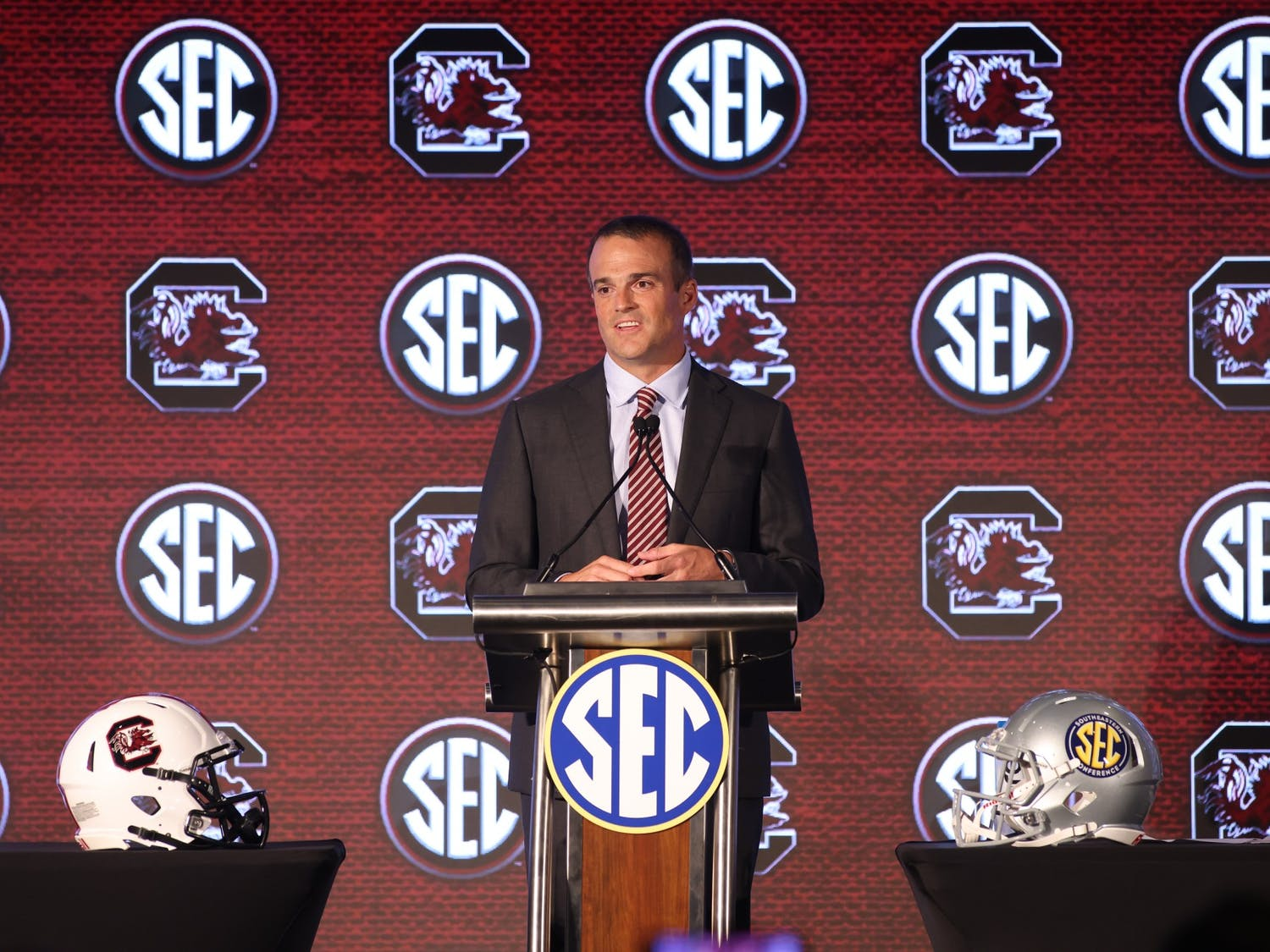 University of South Carolina head coach Shane Beamer speaks to the media during the 2021 SEC Football Kickoff Media Days on July 19,2021 at the Wynfrey Hotel,Hoover,Alabama. (Jimmie Mitchell/SEC)