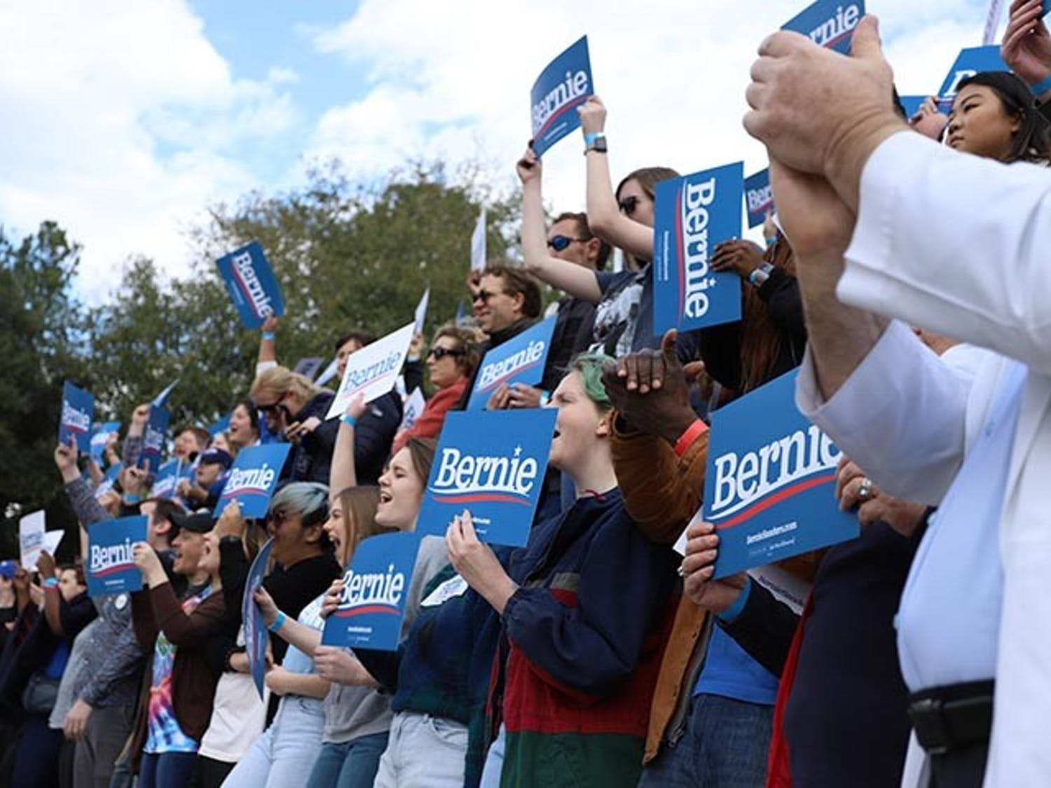 Bernie Sanders supporters were eager to see him at his rally at Finlay Park in Columbia, South Carolina, on Feb. 28. Many supporters expressed their support by dancing, shouting and applauding Sanders' speech.