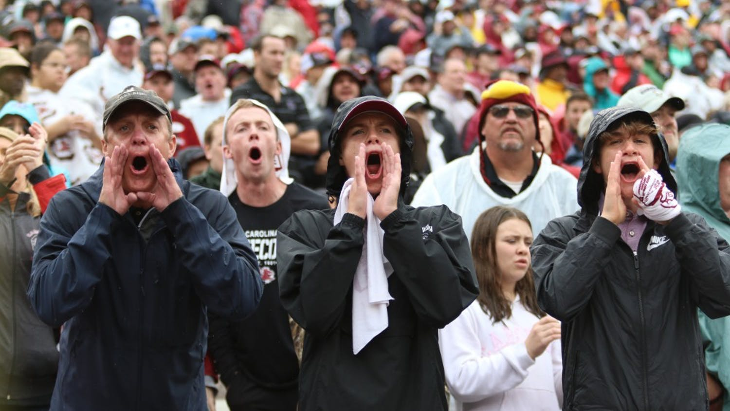 Fans boo in protest of the referees' calls during the game against Florida at Williams-Brice Stadium Saturday.