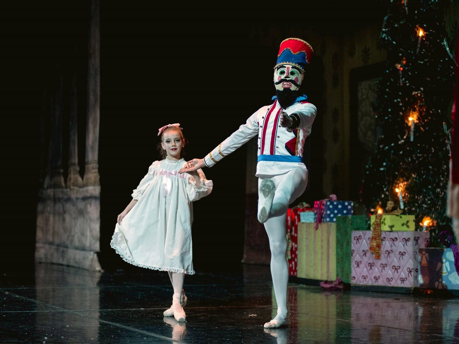 Clair Richards Rapp, who performs as Clara, and the Nutcracker share a dance in the traditional Christmas ballet.