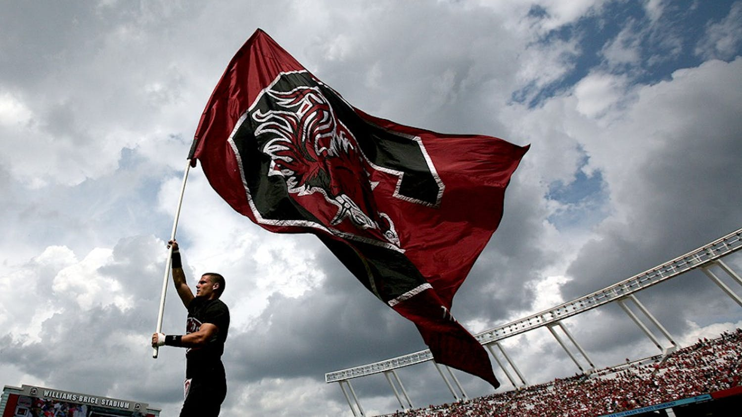 The University of South Carolina flag flies high after the Gamecocks scored against East Carolina in the third quarter at William-Brice Stadium in Columbia, South Carolina, Saturday, September 8, 2012. South Carolina defeated ECU, 48-10. (C. Aluka Berry/The State/MCT)