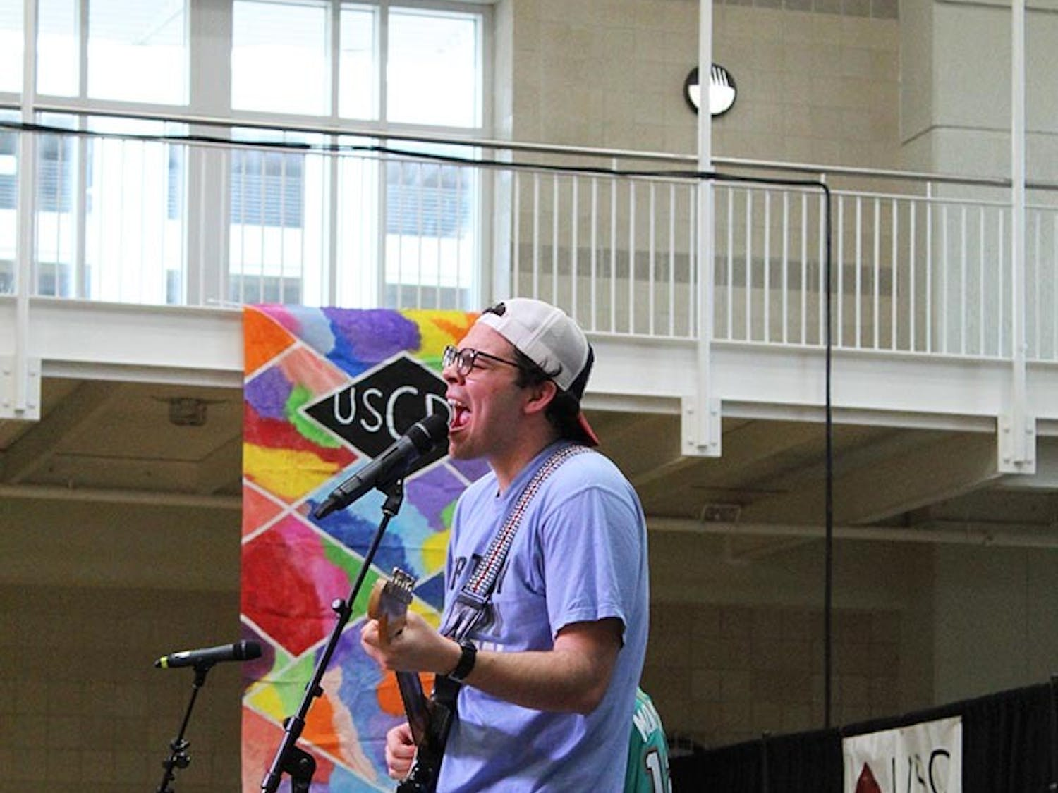 The band Tripping on Bricks performs for the crowd at Dance Marathon while the