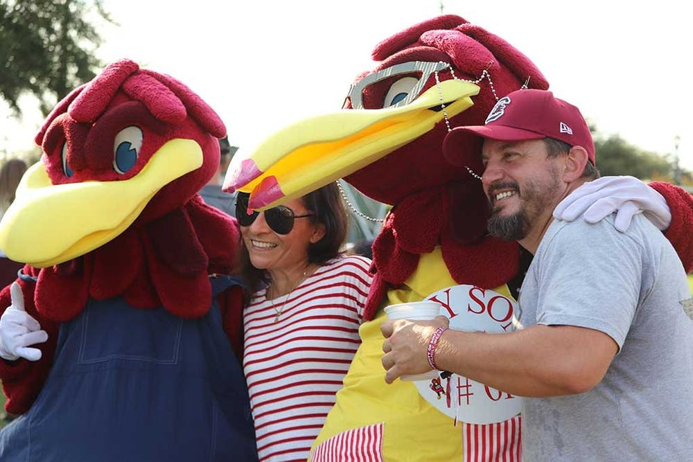 <p>Gamecock families meet Cocky's family at the USC Family Weekend Tailgate Party.</p>