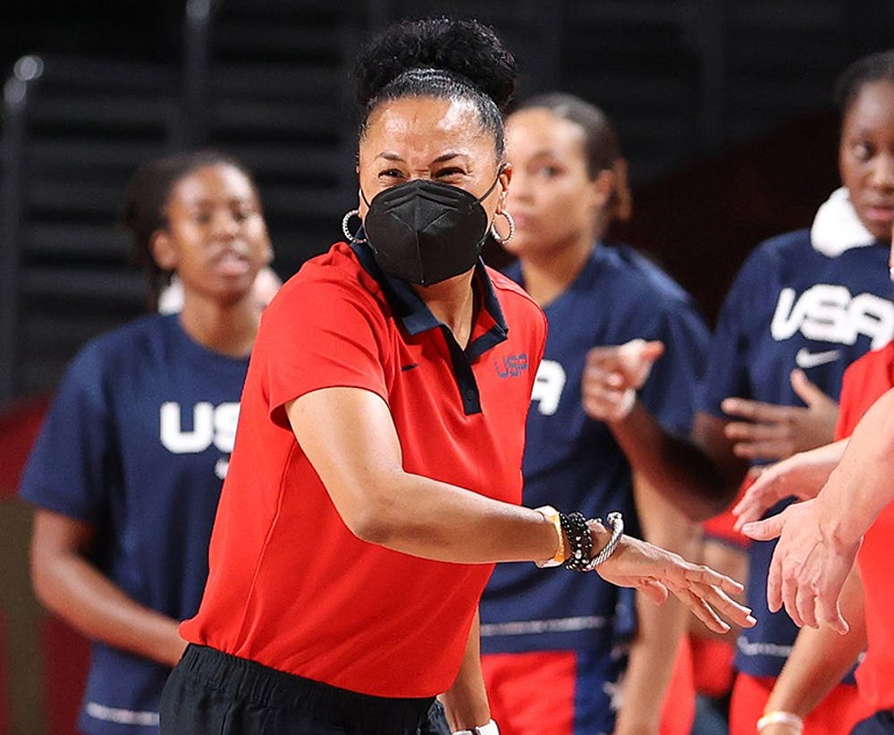 <p>Head coach Dawn Staley of Team United States reacts against France during the first half of a Women's Basketball Preliminary Round Group B game on day 10 of the Tokyo 2020 Olympic Games at Saitama Super Arena on Monday, Aug. 2, 2021, in Saitama, Japan.</p>