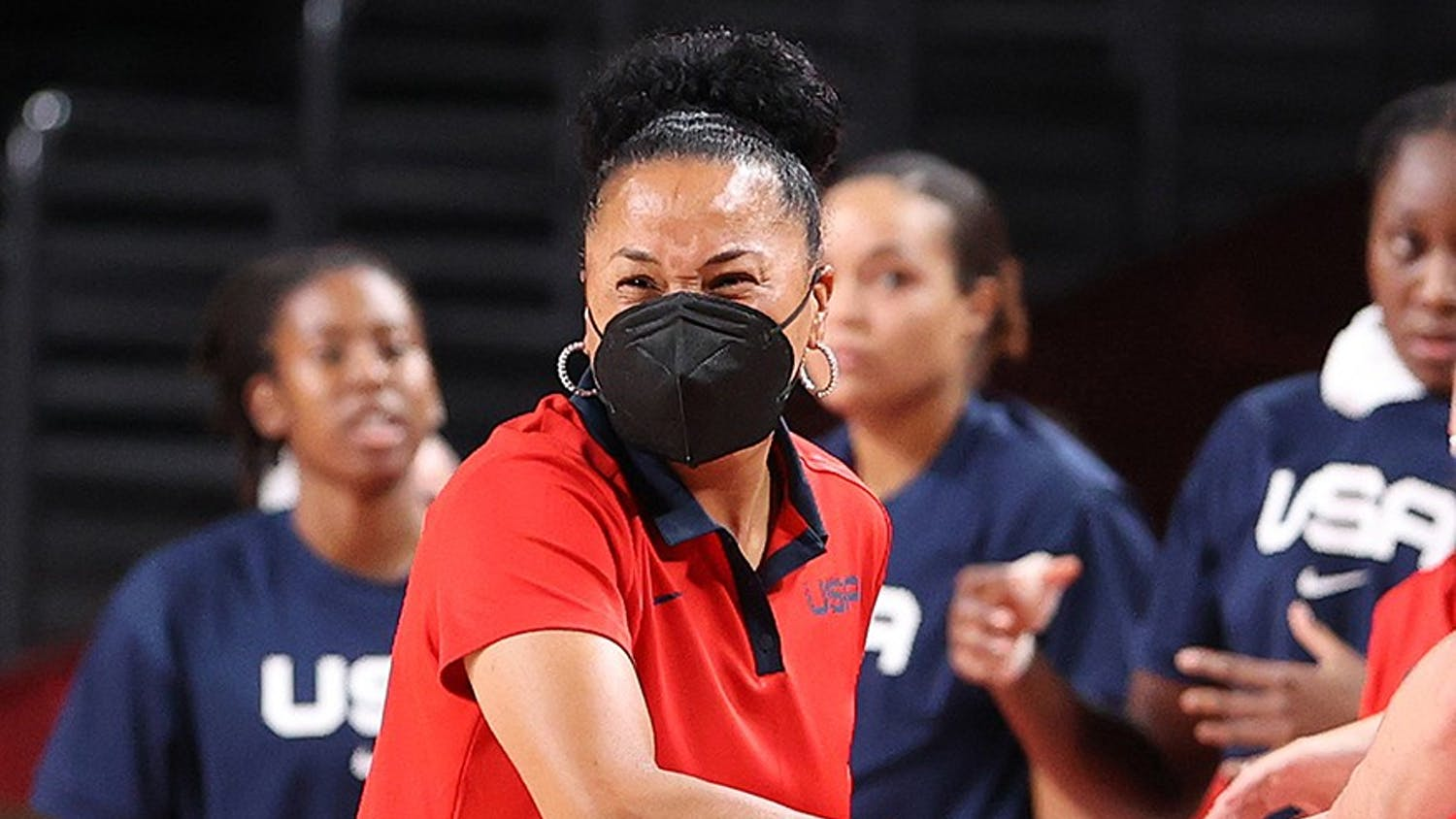 Head coach Dawn Staley of Team United States reacts against France during the first half of a Women's Basketball Preliminary Round Group B game on day 10 of the Tokyo 2020 Olympic Games at Saitama Super Arena on Monday, Aug. 2, 2021, in Saitama, Japan.