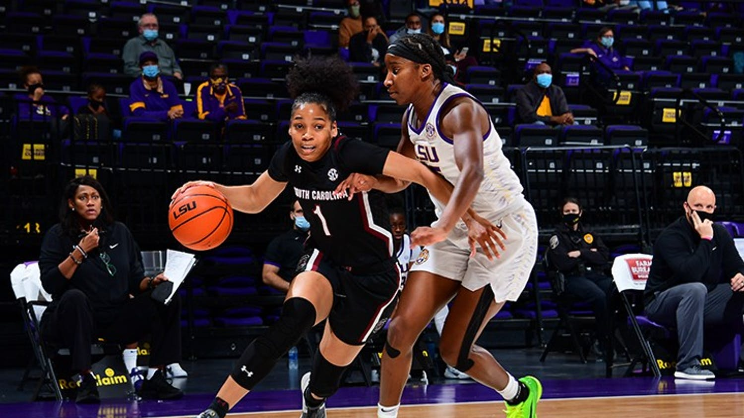 Sophomore guard Zia Cooke drives past a defender in South Carolina's win over LSU Sunday. The Gamecocks remain undefeated in the SEC.