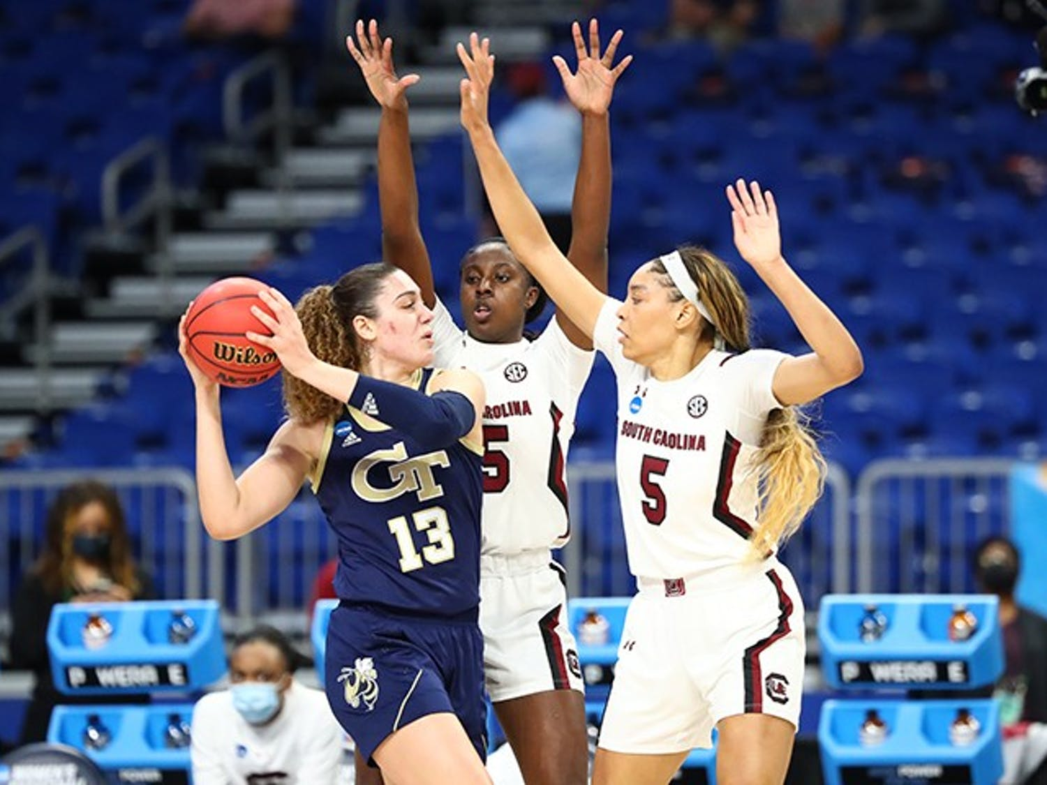 Sophomore forward Laeticia Amihere (15) and Junior forward Victaria Saxton (5) guard a Georgia Tech player in the Gamecocks' win Sunday. The win sends South Carolina to the Elite Eight.