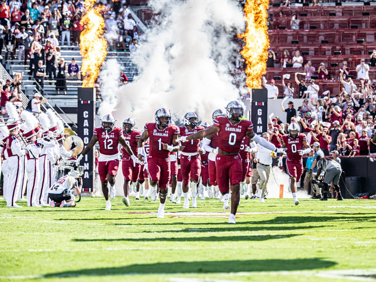 South Carolina football rushes the field for kickoff at the Troy football game Oct. 2, 2021.