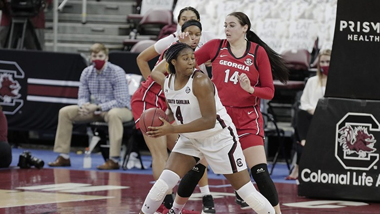South Carolina Gamecocks forward Aliyah Boston (4) is defended by Georgia Lady Bulldogs center Jenna Staiti (14) at Colonial Life Arena on Thursday, January 21, 2021.