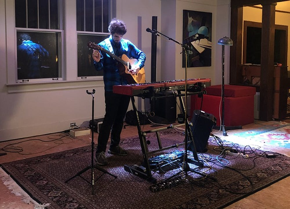 """<p>Noah Ballou (Lleau) plays for a tech rehearsal for """"At the Addition.""""</p>"""