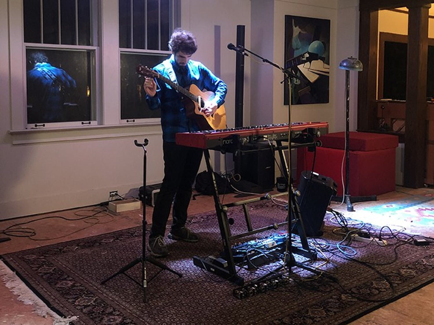 """Noah Ballou (Lleau) plays for a tech rehearsal for """"At the Addition."""""""