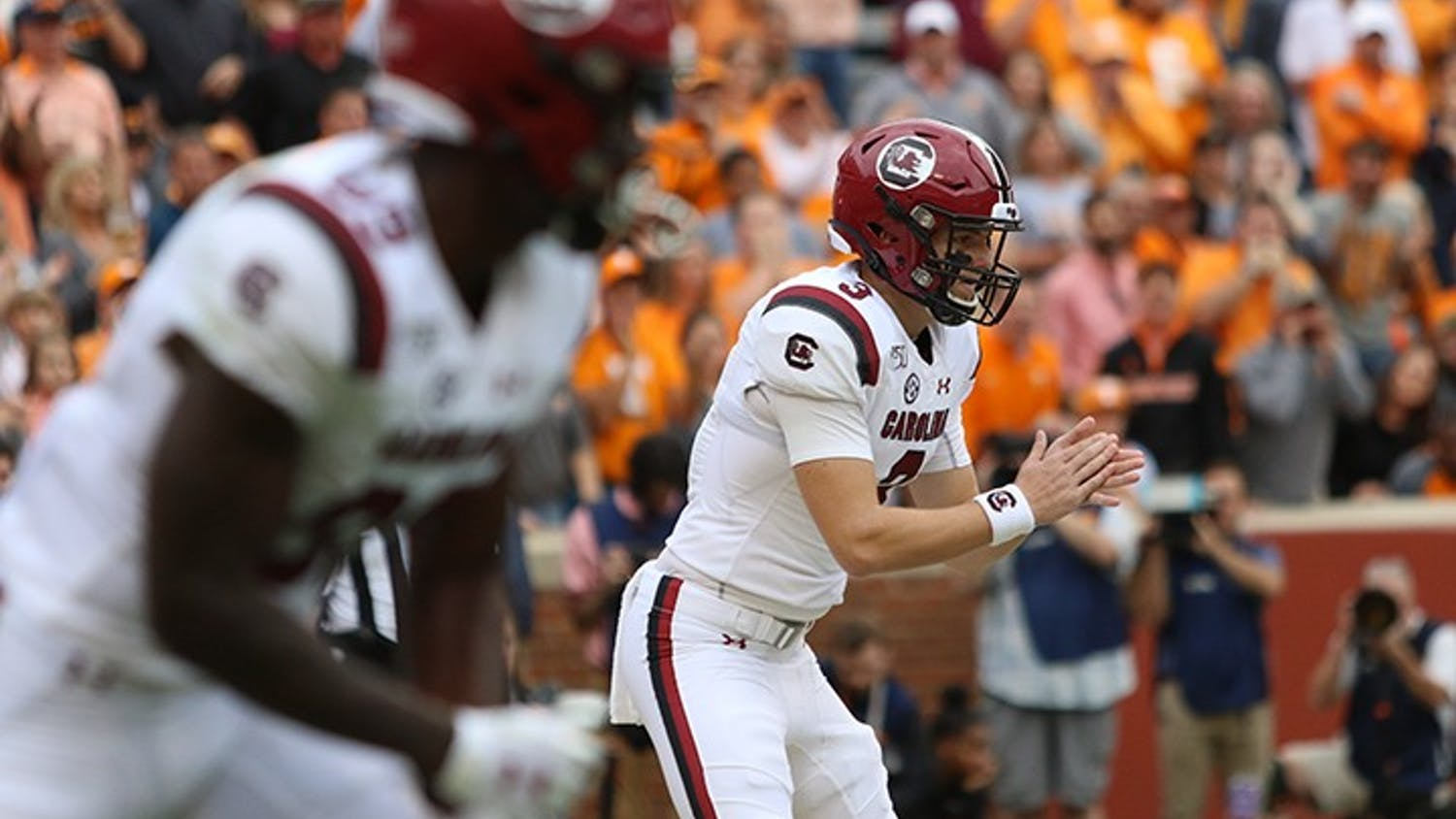 Sophomore quarterback Ryan Hilinski waits for the snap against Tennessee on Oct. 26, 2019.  Hilinski entered the transfer portal Wednesday.