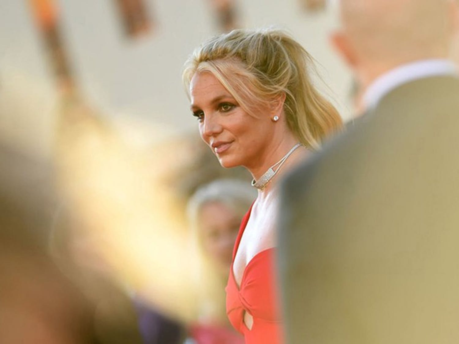 Britney Spears arrives at a movie premiere in 2019.