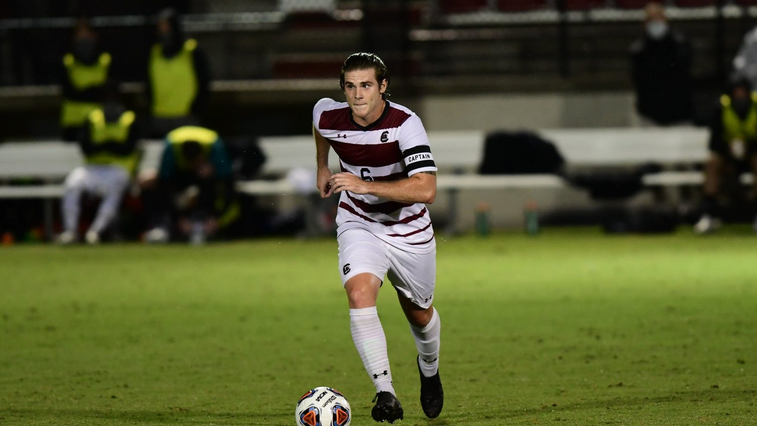 Gamecock redshirt senior Kyle Gurrieri runs toward the goal with the ball in his possession. South Carolina lost to Georgia State 3-1 Sept. 24, 2020.