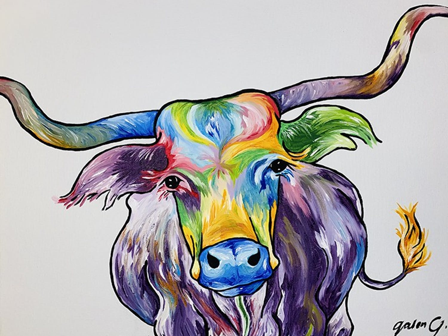 One of Jennings many projects depicts a bull made up of many bright colors.