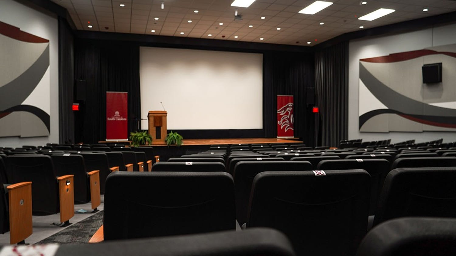 Aisles of seats in the Russell House Theater.