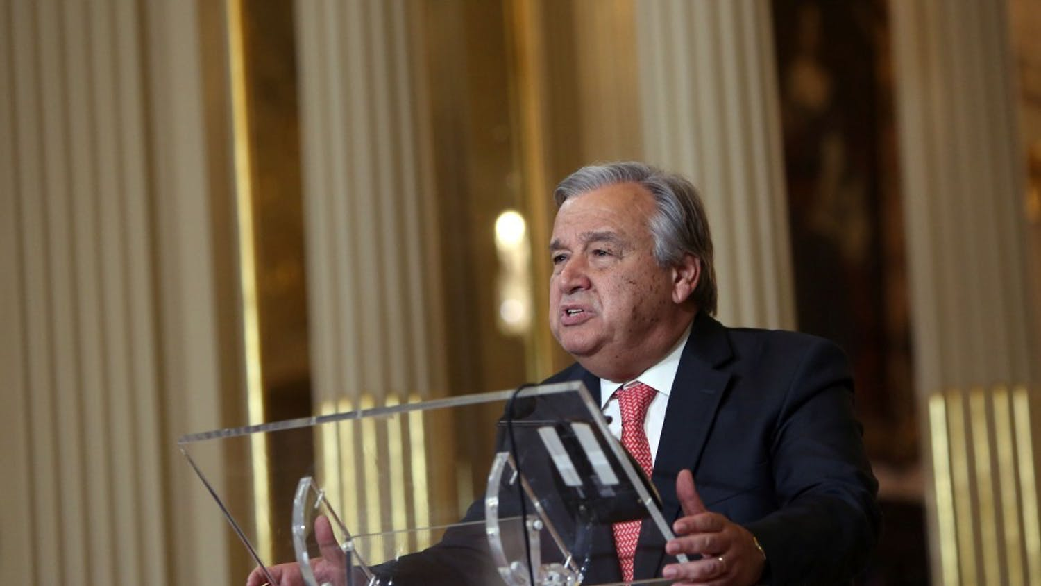 Antonio Guterres speaks to the press on Thursday, on Oct. 6, 2016 at the Ministry of Foreign Affairs in Lisbon, Portugal after his appointment as the next United Nations secretary general. (Pedro Fiuza/Zuma Press/TNS)
