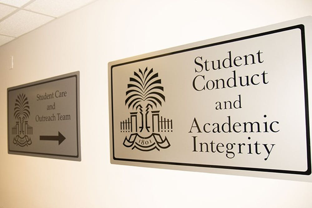 <p>The sign outside of the Office of Student Conduct and Academic Integrity.</p>