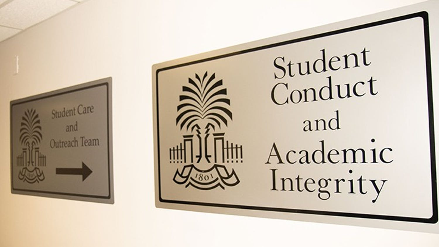 The sign outside of the Office of Student Conduct and Academic Integrity.