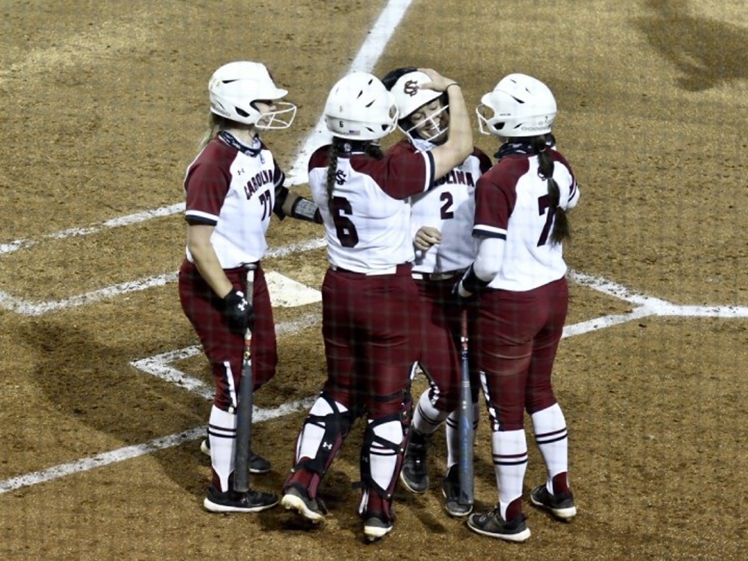 Graduate student shortstop Kenzi Maguire celebrates with teammates after hitting a home run in the second inning Wednesday. South Carolina beat Winthrop 10-1.
