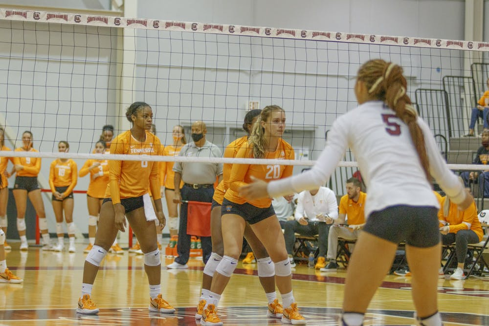 <p>Graduate student outside hitter Kyla Manning on the front lines waiting for a serve during one of the South Carolina versus Tennessee volleyball games last weekend.</p>