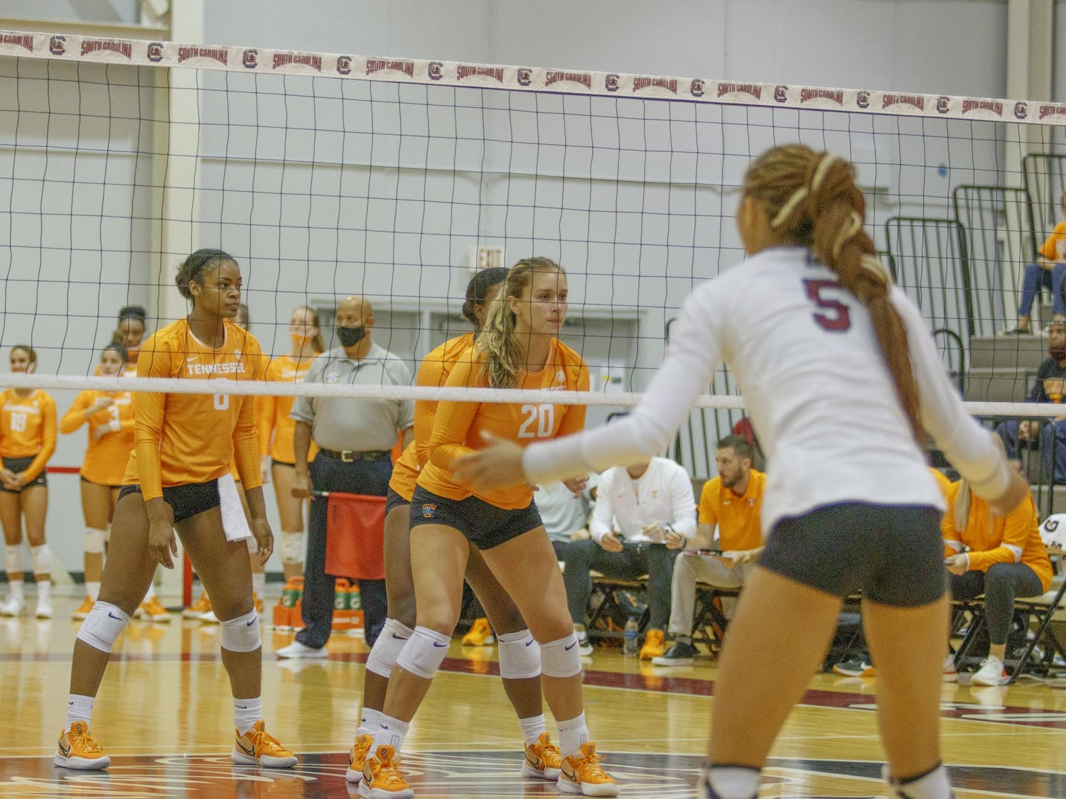 Graduate student outside hitter Kyla Manning on the front lines waiting for a serve during one of the South Carolina versus Tennessee volleyball games last weekend.