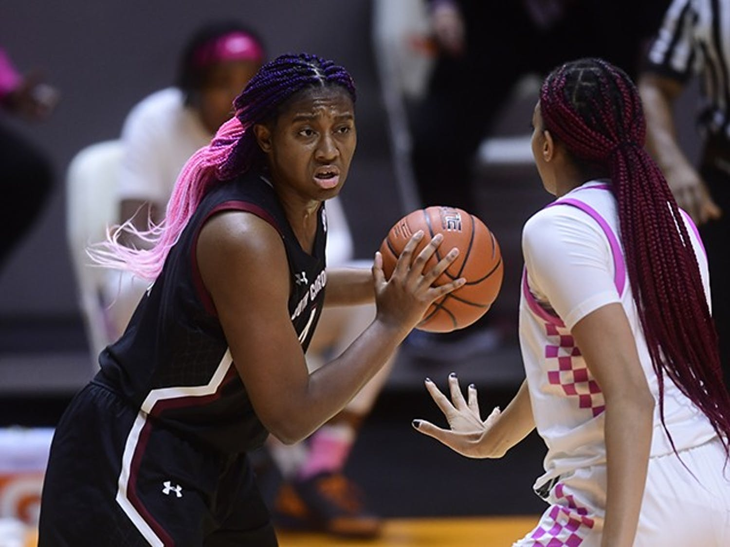 Sophomore forward Aliyah Boston holds the ball while facing a Tennessee player. South Carolina lost to Tennessee 75-67.