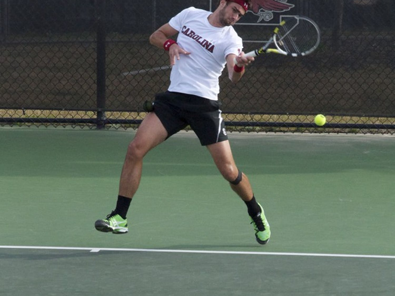 Sophomore Thiago Pinheiro rallied to win his match's second and third sets to help the Gamecocks advance to the second round of the SEC Tournament.