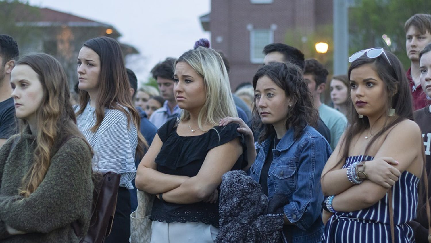 """Students mourn and comfort each other at a vigil for slain USC student Samantha """"Sami"""" Josephson."""