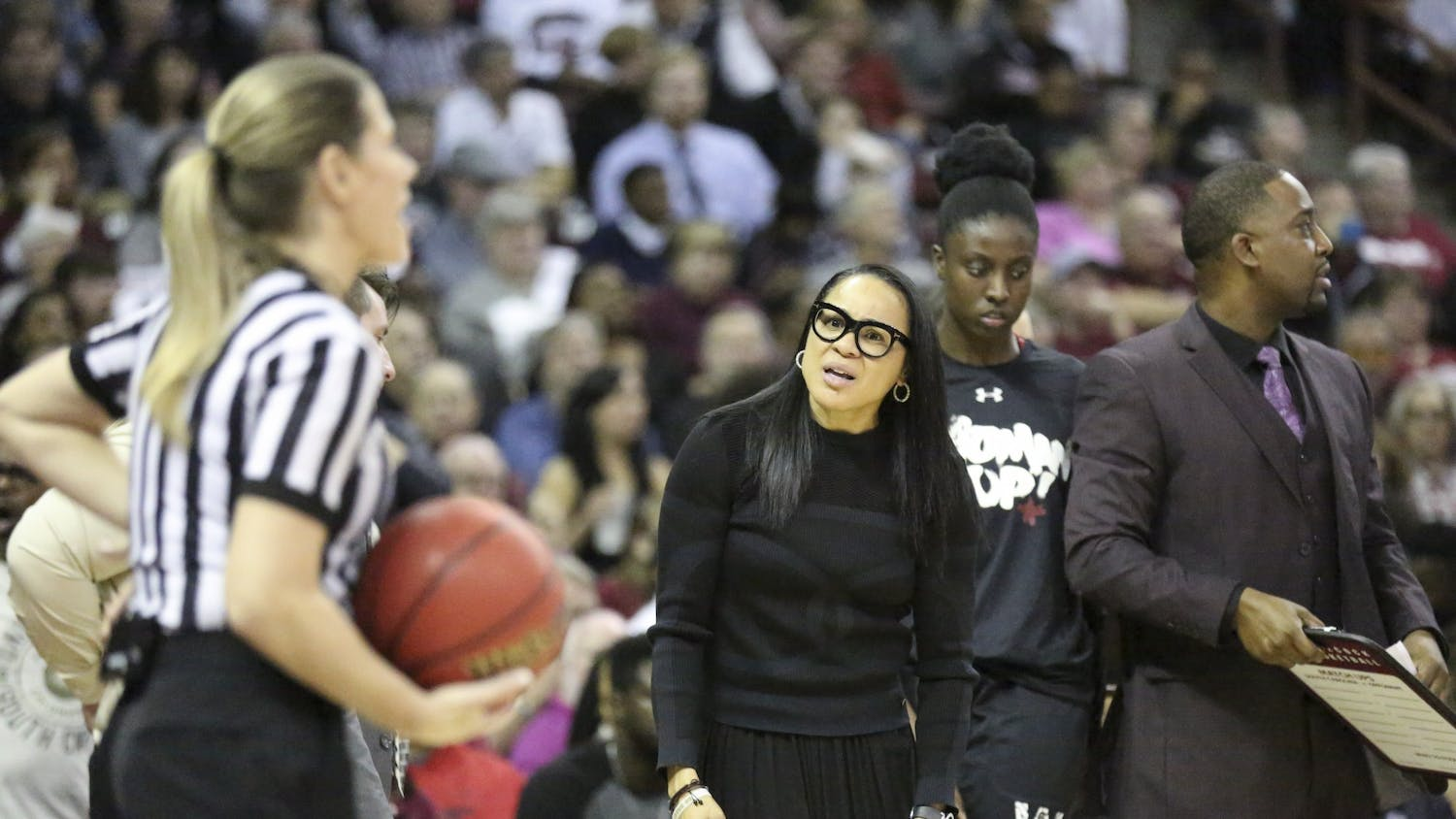 Gamecock head coach Dawn Staley looks at the referee after a call that was just made. Staley has been the Gamecocks' head coach for 11 seasons.