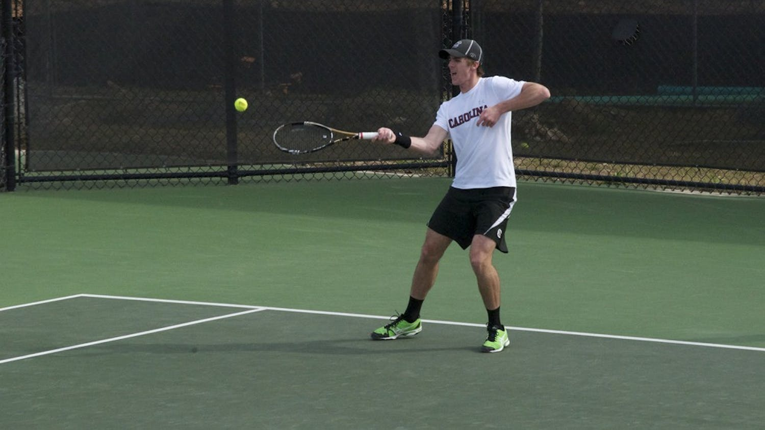 Senior Harry Menzies clenched the Gamecocks' men's tennis victory against No. 8 Kentucky 4–3 this weekend.