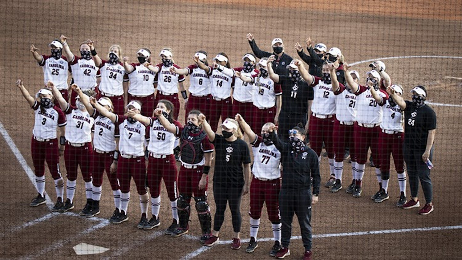 The Lady Gamecocks celebrate the mercy rule win against Coastal Carolina University. Final score of the second game in the doubleheader was 10-0 for the Lady Gamecocks.