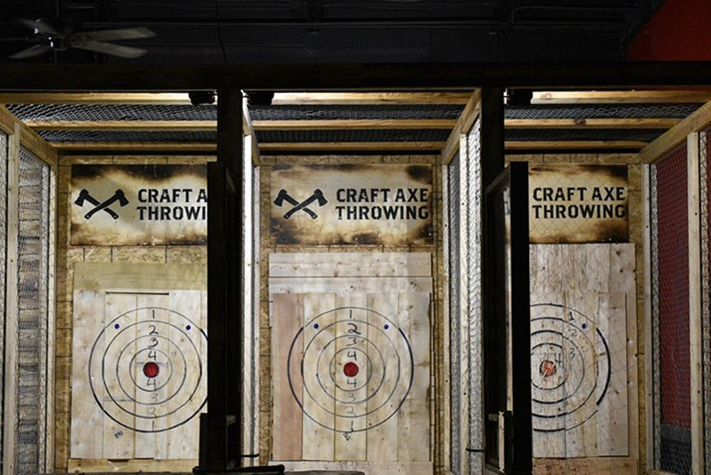 <p>Craft Axe Throwing has divided lanes with bullseye's for customers to throw at.</p>
