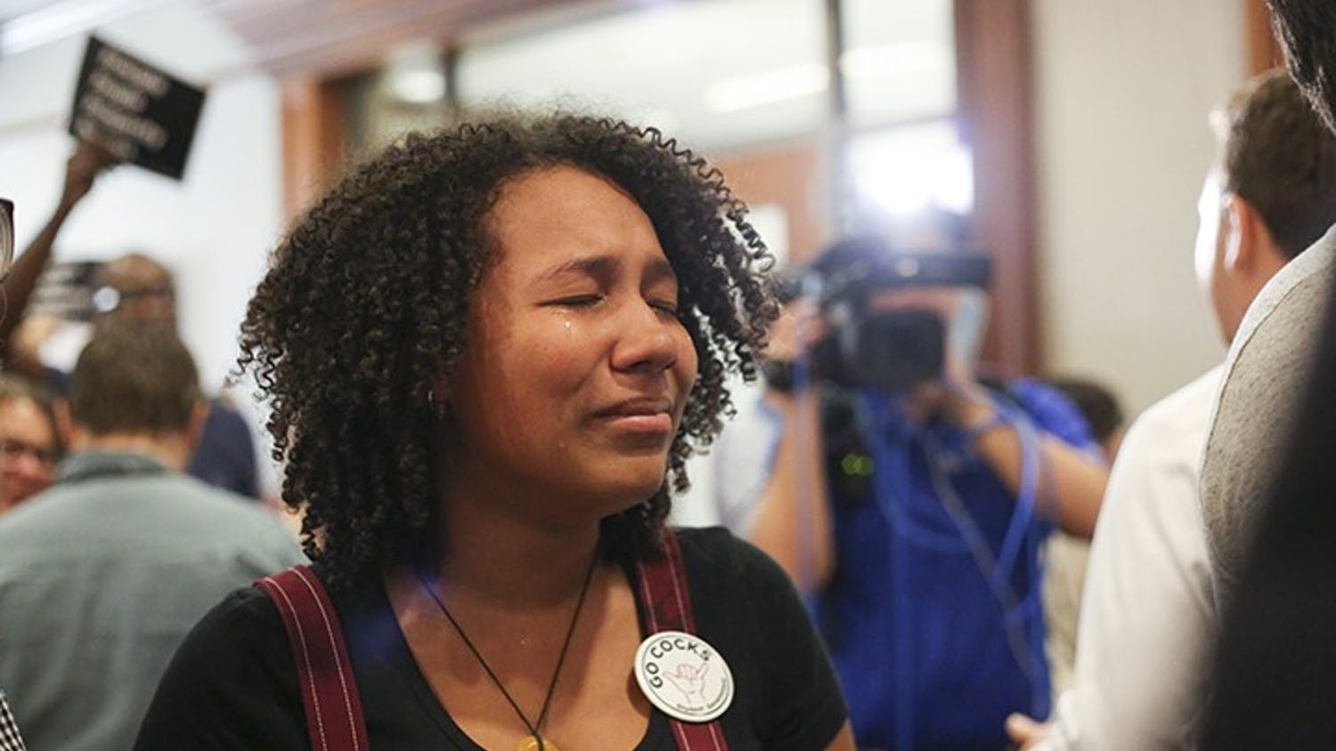Second-year psychology student Deanna Smith cries in reaction to the announcement of the selection of Gen. Robert Caslen as the next president of USC.