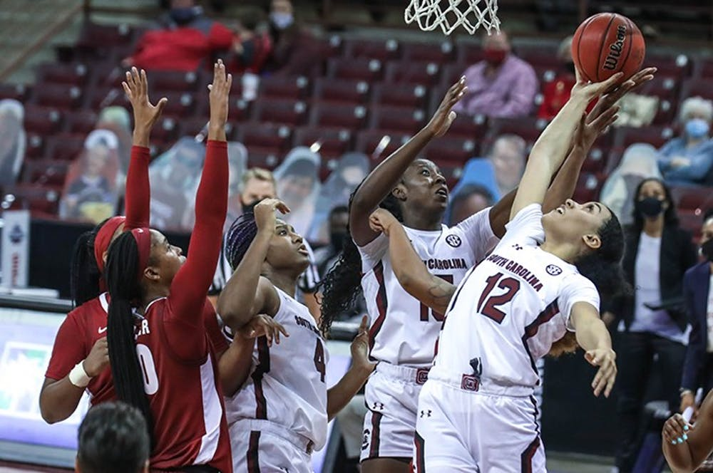 Sophomore guard Brea Beal goes for the ball during the game against Alabama. South Carolina won 87-63.
