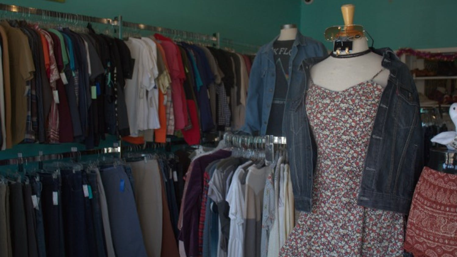 A collection of clothes sits on display at Sid & Nancy, a thrift store in Five Points.