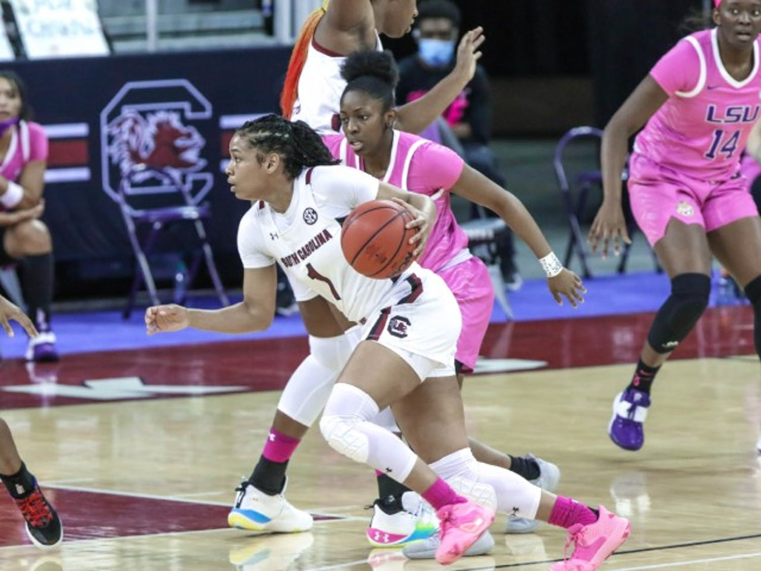 Sophomore guard Zia Cooke dribbles past a defender in South Carolina's win over LSU. The Gamecocks improved to 17-2 following the win.