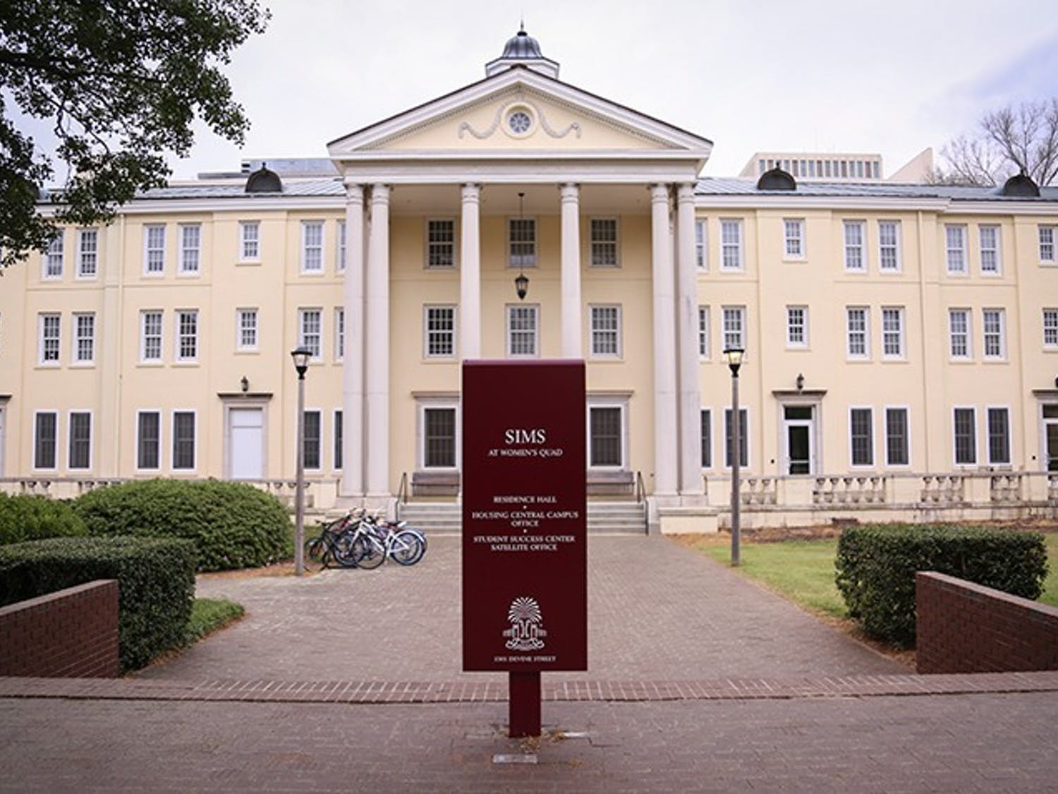 The Sims residence hall, located on Bull Street, makes up a section of Women's Quad. A name change is being discussed for the building.