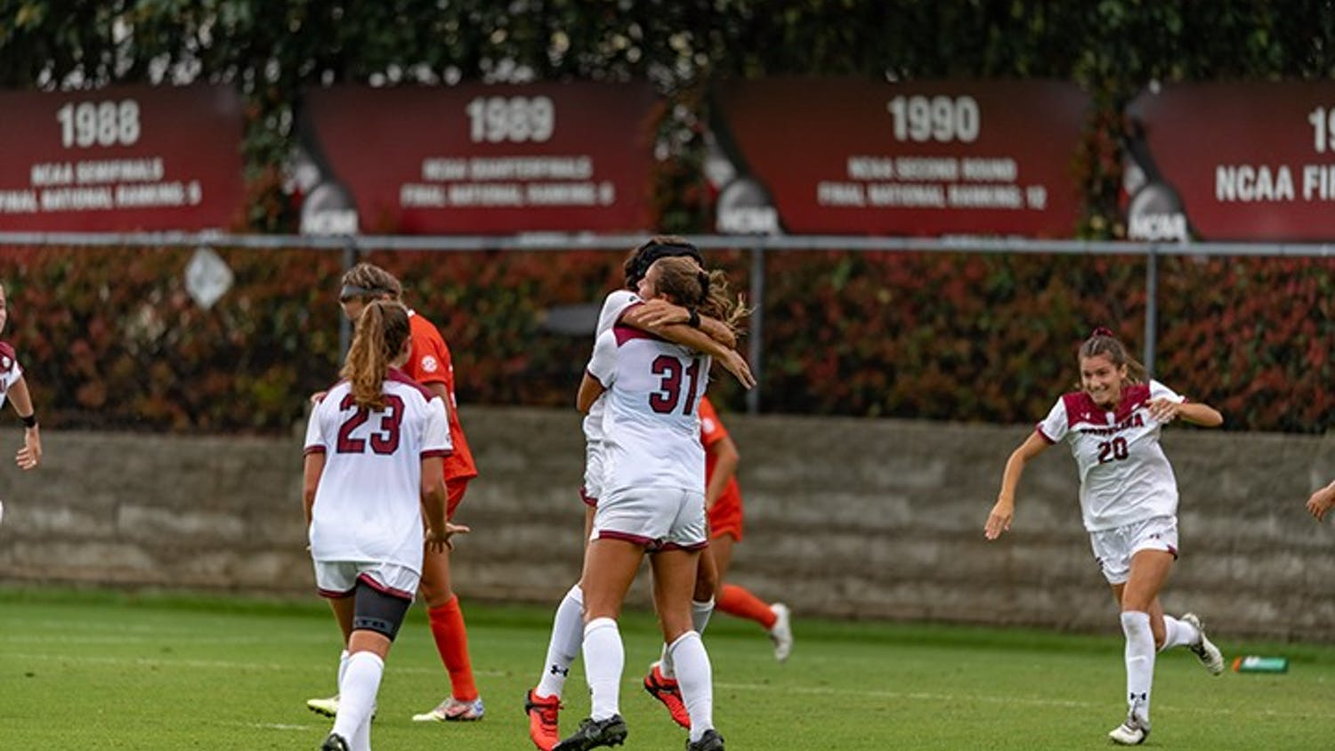 Freshman midfielder Rylee Forster celebrates a goal with her teammates against Florida earlier in the 2020 season.