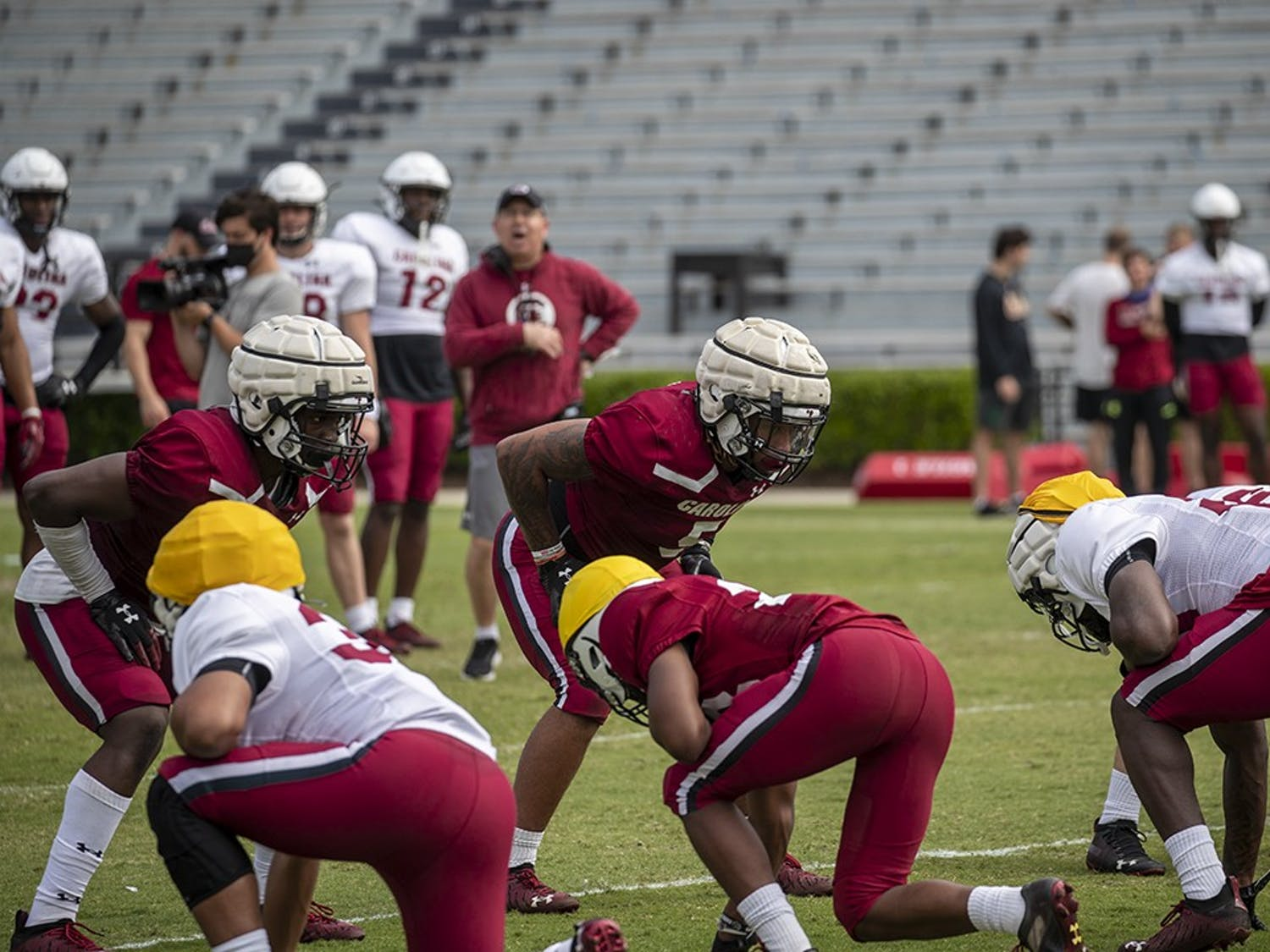Players on the Gamecock football team practice for the upcoming spring game.