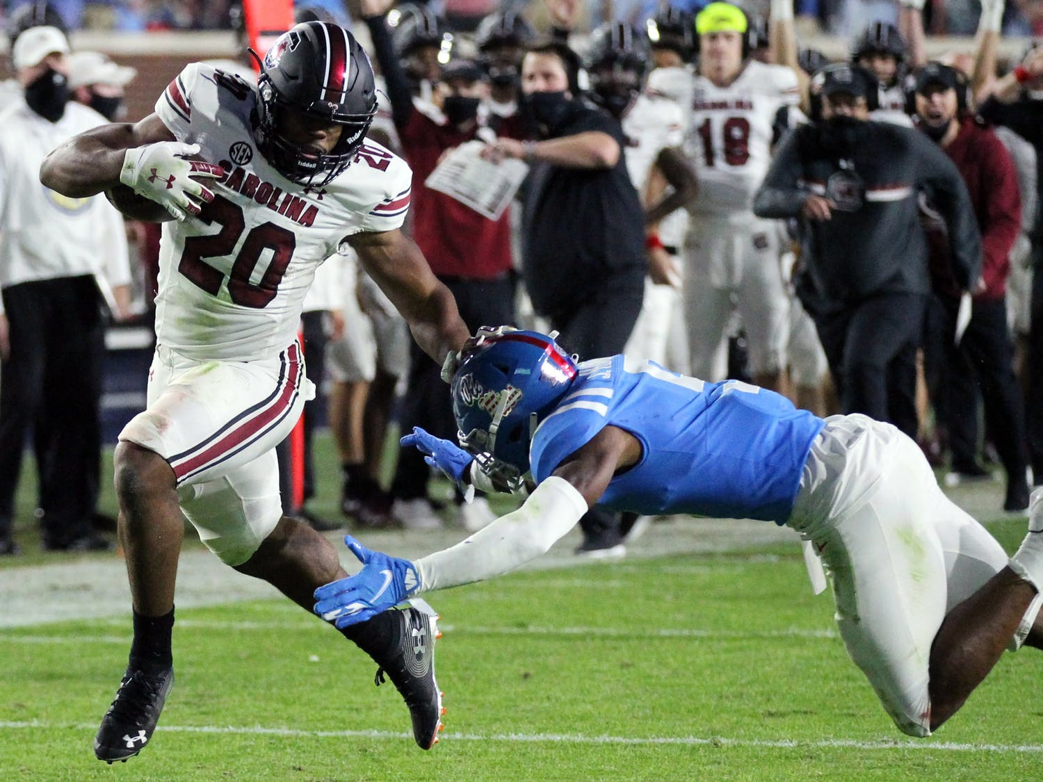 Sophomore running back Kevin Harris avoids being tackled while carrying the ball during the game against the Ole Miss Rebels Saturday. The Gamecocks lost 59-42 and their record fell to 2-5.