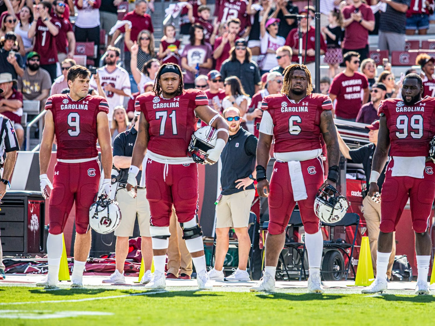 Carolina players lined up awaiting to do the coin toss at the Troy Football Game on Saturday October 2, 2021.