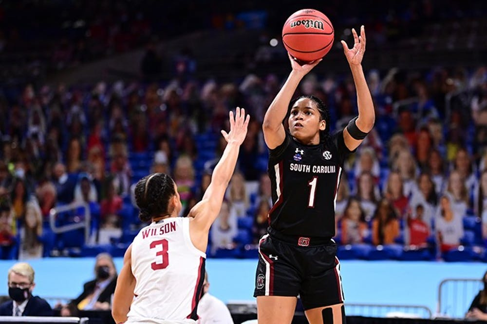 <p>&nbsp;Sophomore guard Zia Cooke shoots over Stanford Cardinal Anna Wilson during the semifinals of the NCAA Women's Basketball Tournament at the Alamodome on April 2, 2021 in San Antonio, Texas.&nbsp;</p>