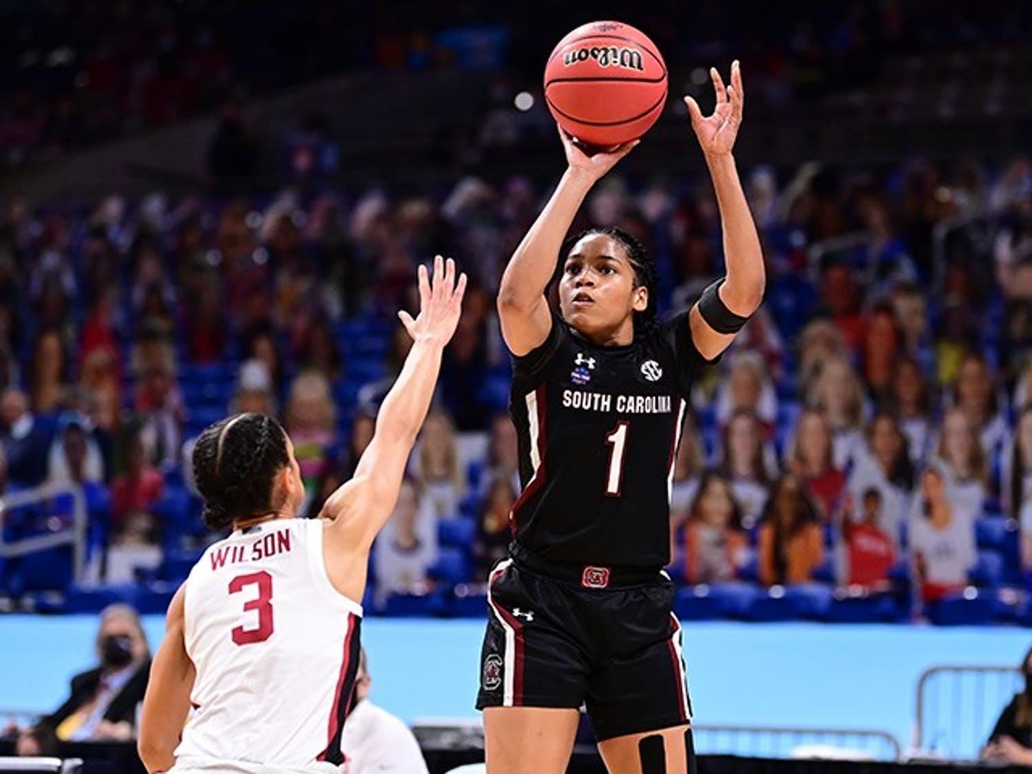 Sophomore guard Zia Cooke shoots over Stanford Cardinal Anna Wilson during the semifinals of the NCAA Women's Basketball Tournament at the Alamodome on April 2, 2021 in San Antonio, Texas.