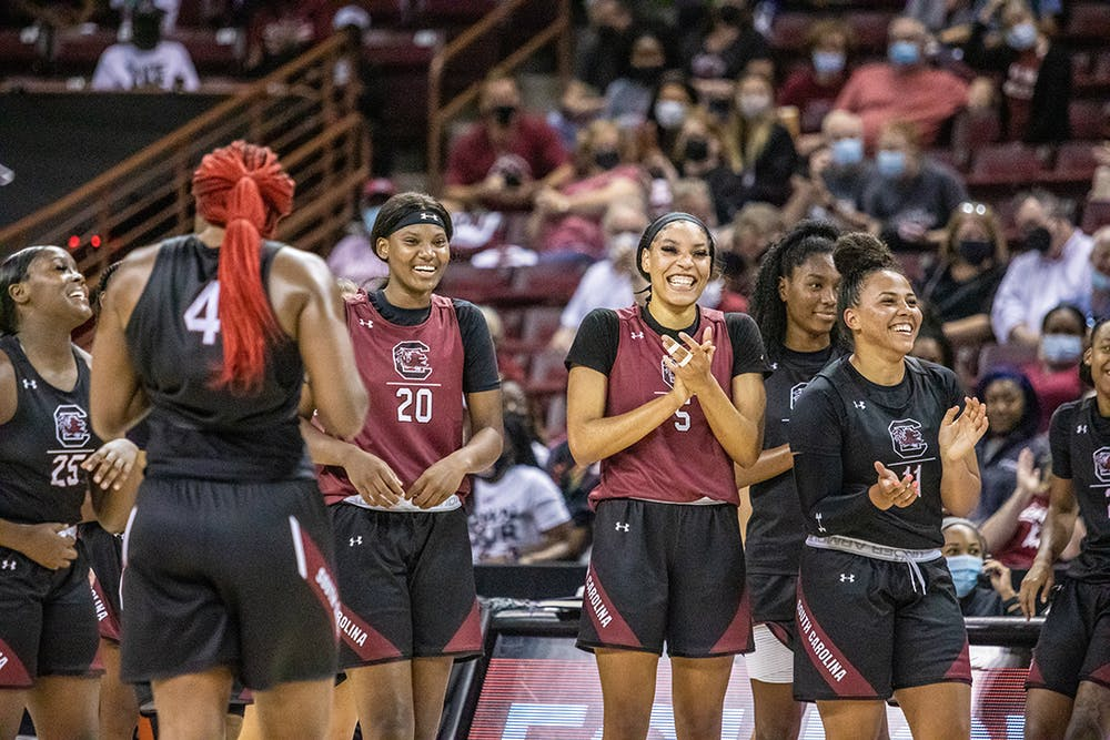 <p>The Garnet and Black teams get ready to face off in the open scrimmage Oct. 1, 2021, before the start of the women's basketball season. The Black team won with a score of 22-18.</p>