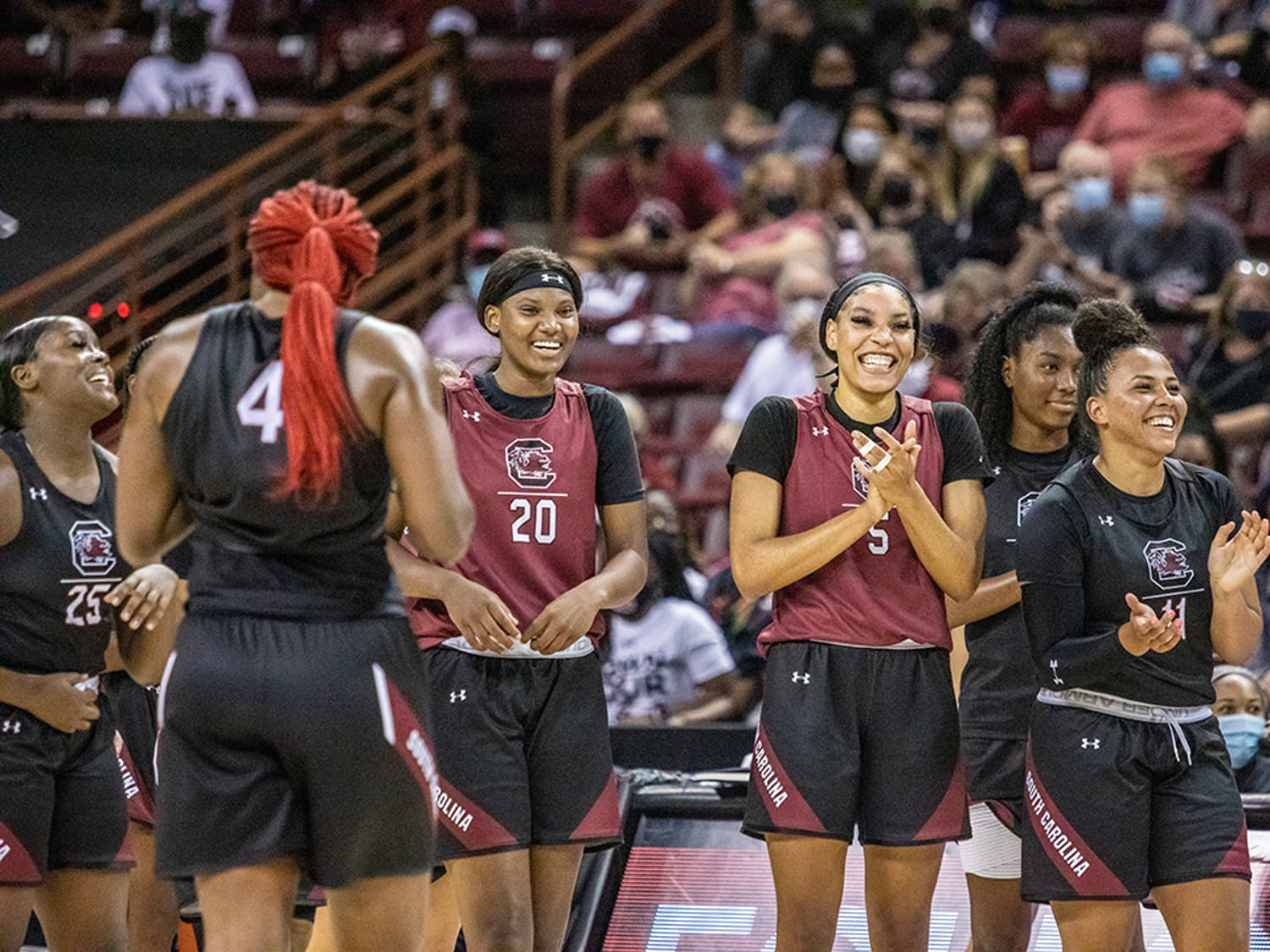 The Garnet and Black teams get ready to face off in the open scrimmage Oct. 1, 2021, before the start of the women's basketball season. The Black team won with a score of 22-18.